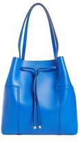 Tory Burch 'Block-T' Leather Drawstring Tote - Blue