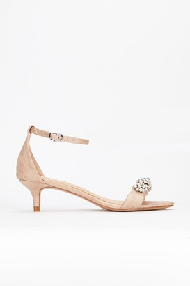 Wallis **Pink Diamante Trim Heel Sandal