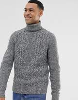 Pier One cable knit jumper with turtle neck in grey