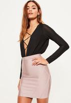 Missguided Purple Premium Bandage Panel Detail Mini Skirt