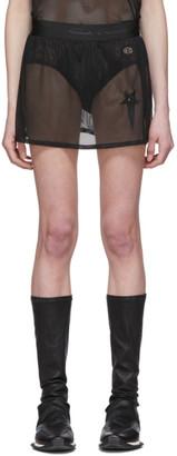 Rick Owens Black Champion Edition Sheer Mesh Toga Shorts