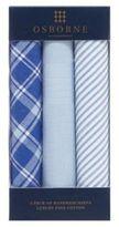 Osborne Pack Of Three Blue Checked Striped And Plain Handkerchiefs