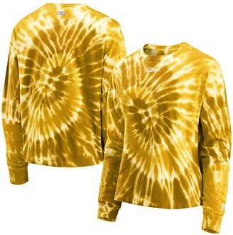 Women's WEAR by Erin Andrews Yellow Oregon Ducks Team Tie-Dye Long Sleeve T-Shirt