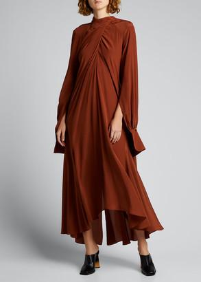 Petar Petrov Draped Silk High-Low Maxi Dress
