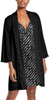 Bebe Women's Sleep Robes BLACK - Black & Silver 'Bebe' Ruffle Chemise & Robe Set - Women