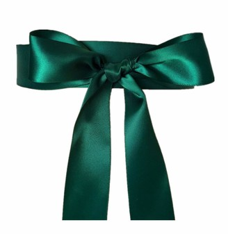 Stdress Wedding Sash Bridal Belts Simple Classic Silk Ribbon Sash for Dress - Green - One Size