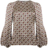 Phoebe Grace Georgie Balloon Sleeve Top in Basket Weave Print