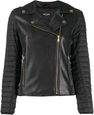 Twin-Set padded sleeved faux-leather jacket