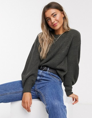 New Look dropped shoulder rib jumper in mid grey