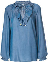 MICHAEL Michael Kors ruffle tie neck blouse