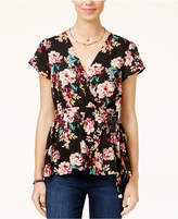 Lily Black Juniors' Floral-Print Wrap Top, Created for Macy's