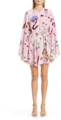 Stella McCartney Floral Print Long Sleeve Silk Minidress