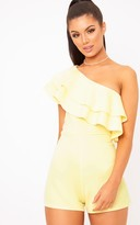 PrettyLittleThing Yellow One Shoulder Frill Detail Playsuit