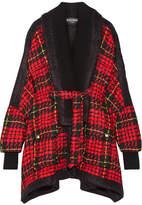 Balmain Oversized Tartan Tweed Jacket - Crimson