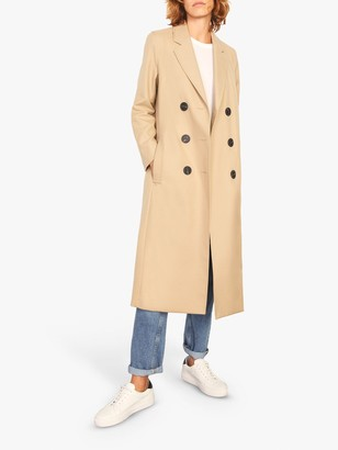 Jigsaw Stripe Lined Double Breasted Maxi Coat, Stone