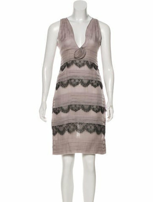 Valentino Silk Knee-Length Dress Grey