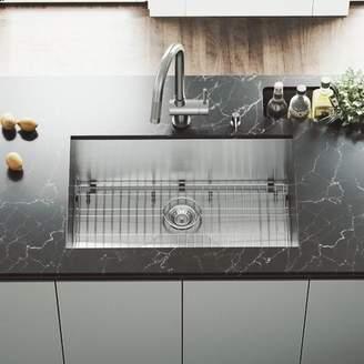 "Ludlow VIGO 30"" L x 19"" W Undermount Kitchen Sink with Faucet, Grid, Strainer, and Soap Dispenser VIGO"