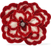 Gucci Crystal, Bead And Felt Brooch - Red