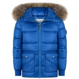 Pyrenex PyrenexSea Blue Authentic Down Padded Coat With Fur Trim