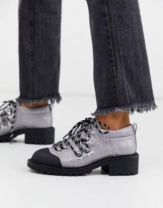 Asos Design DESIGN Monitor hiker flat shoes in lilac croc-Purple