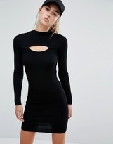Miss Selfridge Slit Front Rib Mini Dress