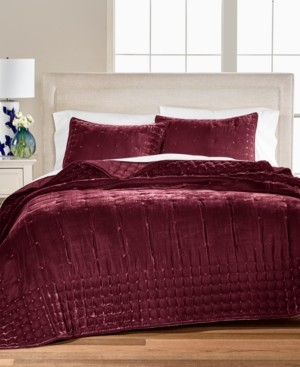Closeout! Martha Stewart Collection Tufted Velvet Twin Quilt, Created for Macy's