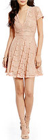 GB Deep-V Lace Fit-and-Flare Dress