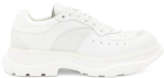 Alexander McQueen Exaggerated-sole Suede-panelled Leather Trainers - White