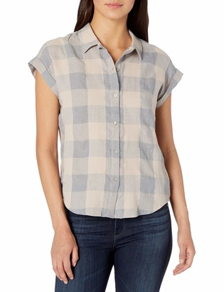 Lucky Brand Women's Short Sleeve Button up Plaid Top