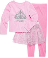 Asstd National Brand Girls Kids Tutu 3 PC Princess Pajama Set-Toddler
