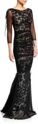 Chiara Boni Maritza Illusion Printed Fishtail Gown