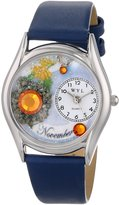 Whimsical Watches Women's S0910011 Imitation Birthstone: November Royal Blue Leather Watch