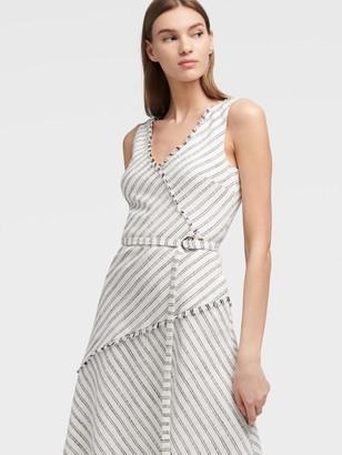 DKNY Women's Striped Fringe Asymmetrical Dress - Ivory Combo - Size 00