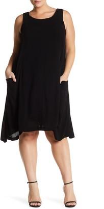 Sharagano Sleeveless Pocket Dress (Plus Size)