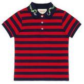Gucci Little Boy's & Boy's Snake-Detail Stripe Cotton Polo