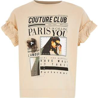 River Island Girls beige printed frill sleeve T-shirt