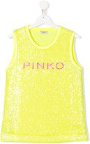 Pinko Kids TEEN sequin embroidered logo tank top