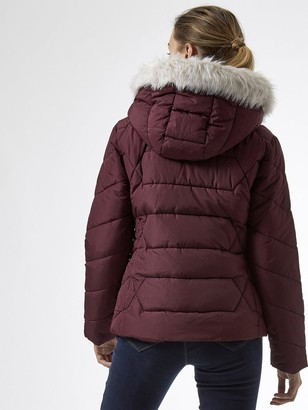 Dorothy Perkins Short Length Faux Fur Hooded Padded Coat - Red