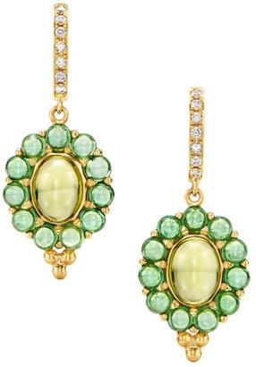 Temple St. Clair Dreamcatcher 18K Yellow Gold, Tsavorite, Peridot & Diamond Drop Earrings