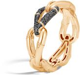 John Hardy Women's Bamboo 21.5MM Hinged Bangle in 18K Gold with Black Diamonds