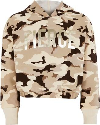 River Island Girls Brown camo 'Fierce' foil print hoodie