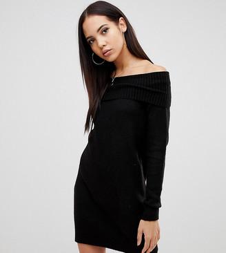 Asos Tall DESIGN Tall off shoulder dress in fluffy yarn-Black