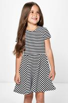 Boohoo Girls Capped Sleeve Belted Skater Dress