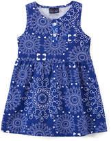 Sweet & Soft Blue Scarf Print Pocket Sleeveless Dress - Toddler