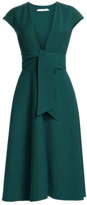 Oscar de la Renta V-Neck Crepe Belted Dress