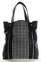 Echo Black White Leather Zipper Detail Double Handle Tote Handbag