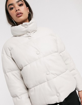 Asos Design DESIGN leather look puffer jacket in off-white-Gray