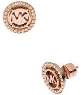 Michael Kors Logo Pave Stud Earrings, Rose Golden