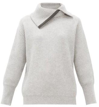 Brunello Cucinelli Embellished Roll-neck Cashmere Sweater - Light Grey
