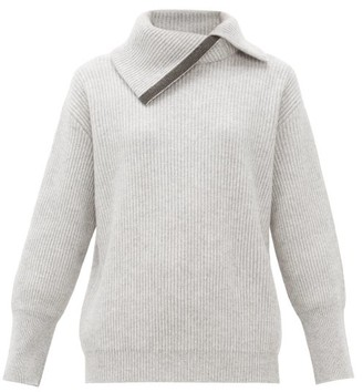 Brunello Cucinelli Embellished Roll-neck Cashmere Sweater - Womens - Light Grey